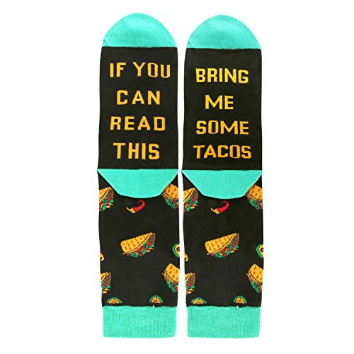 If You Can Read This Novelty Funny Saying Combed Cotton Taco Crew Socks for Men