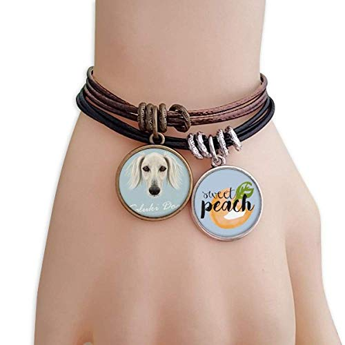 DIYthinker Long Face White Saluki Dog Pet Animal Bracelet Rope Fruit Peach Ornaments Wristband
