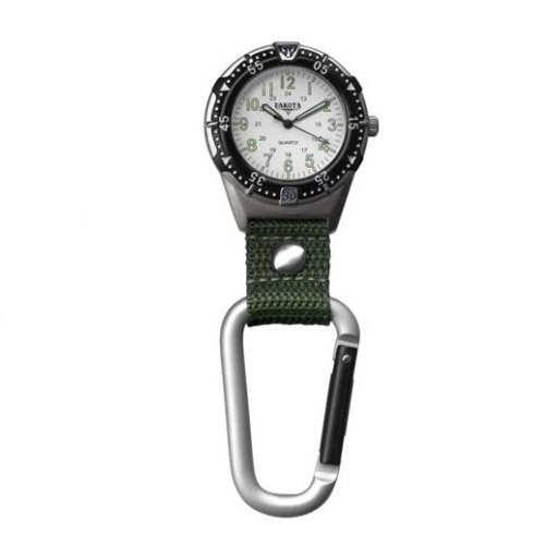Dakota Aluminum Backpacker Clip Watch-White/Moss ()