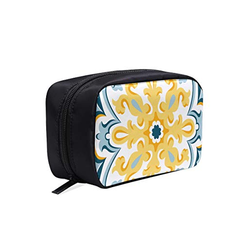 - Flowers And Moroccan Tiles Portable Travel Makeup Cosmetic Bags Organizer Multifunction Case Small Toiletry Bags For Women And Men Brushes Case