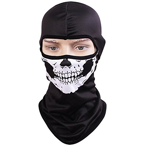 TClian Skull Mask Balaclava Ghost Skeleton Bandana Motorcycle Cycling Balaclava Full Face Masks UV Protective Quick dry Breathable Military Tactical Airsoft Paintball Masks Halloween Mask (Halloween Skull Mask For Kids)