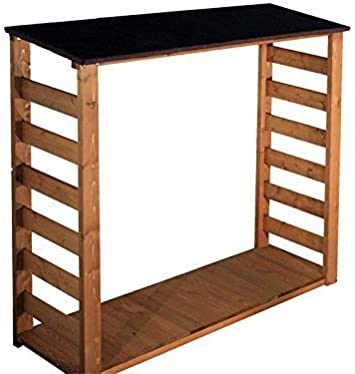 Leñera exterior, de madera de pino, para jardín, madera tratada con impermeabilización - kit de montaje (idioma español no garantizado): Amazon.es: Hogar