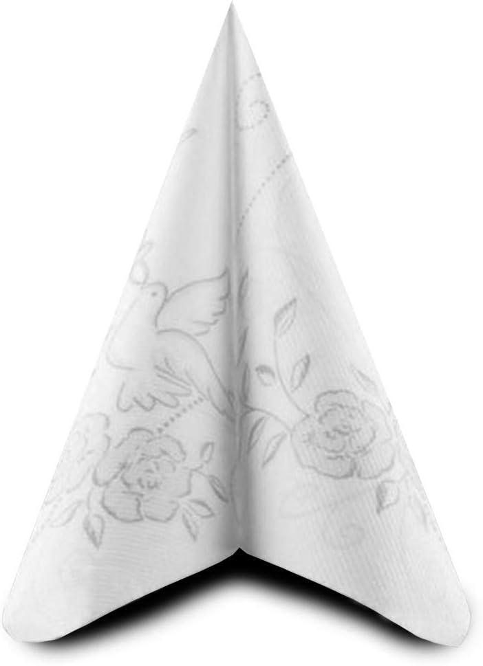 Airlaid 1//4-Falz 40 cm x 40 cm Hochzeit Hellgrau Silber Tauben Verlobung ... 50 Servietten stoff/ähnlich