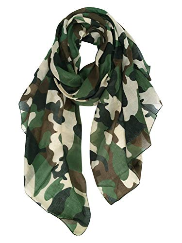 GERINLY Scarves - Lightweight Travel Scarf Camouflage Print Shawl Wrap (Army Green)]()