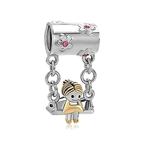 LovelyJewelry 22k Gold Rose Pink Crystal Cute Mother's Girl Sitting On Swings Bead Bracelet - Sitting Girl