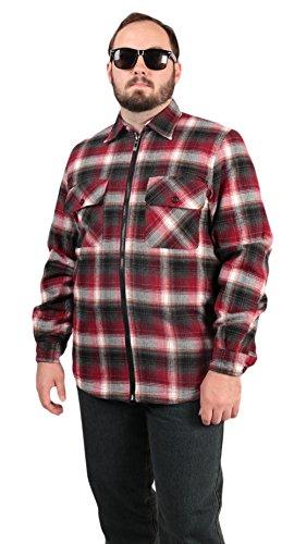 Woodland Supply Co. Men's Brawny Plaid Sherpa Lined Fleece Shirt Jacket,Medium,Wine - Sherpa Fleece Wine