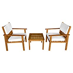 Garden and Outdoor 3-Piece Acacia Wood Patio Bistro Set Patio Furniture Outdoor Chat Conversation Table Chair Set Outdoor Wood Chat Set… patio furniture sets