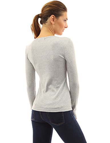 Grey Donne Heather Camicetta Pattyboutik Notch Collo Top Luce Pulsanti Di v8axBqOw
