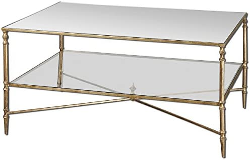 Uttermost Henzler Mirrored Glass Coffee Table, Gold Leaf Finish