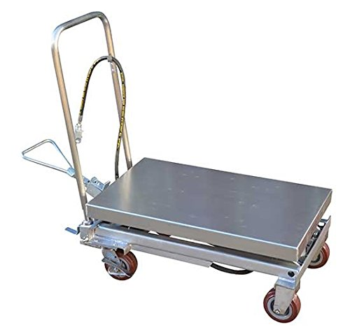 Air Scissor Lift - BAIR-D Series; Construction: Partially Stainless Steel; Platform Size (W x L): 19-3/4'' x 32-1/2''; Capacity (LBS): 1,000; Service Range: 15-3/4'' to 35-1/2''; Caster Size: 5'' x 1-1/2''