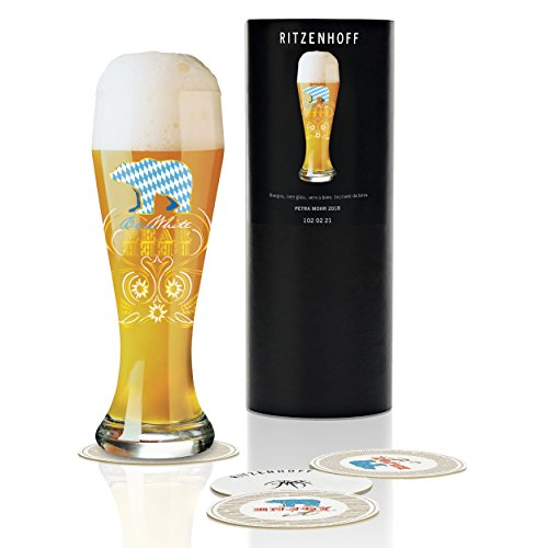 Ritzenhoff Weizen Wheat Beer Glass by Petra Mohr, 500 ml, with 5 Crystal Glass Coasters