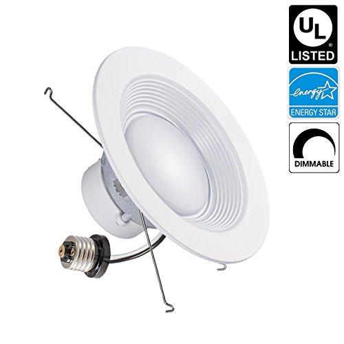 Luxrite LR24820 15W 5/6 Inch LED Retrofit Downlight, 120W Equivalent, ENERGY STAR, Dimmable, Bright White 5000K, Recessed LED Ceiling Light, UL Listed, 1-Pack