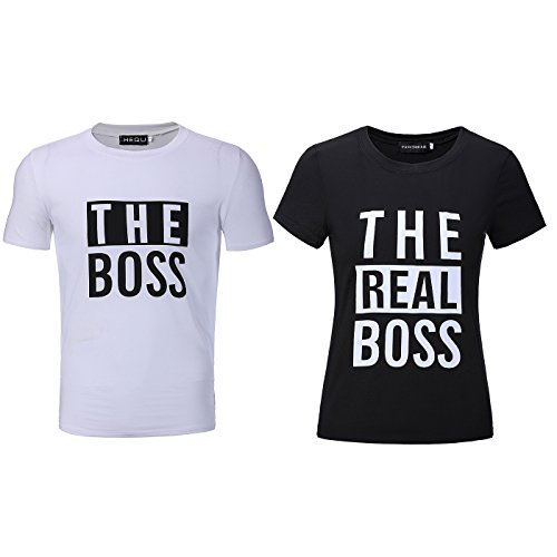 Bangerdei The Boss and The Real Boss Couples T-Shirts Anniversary Newlywed Matching Set Tops Valentines Gifts Black Women 2XL + White Men 2XL by Bangerdei