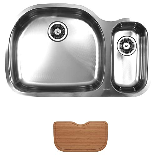 - Ukinox D537.70.30.10L.C Modern Undermount Double Bowl Stainless Steel Kitchen Sink with Cutting Board