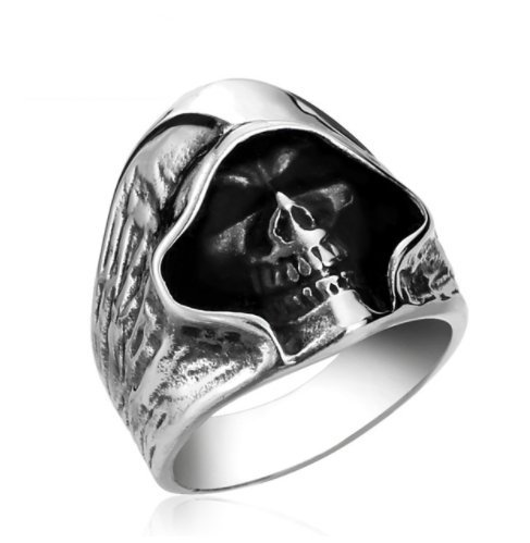 Men's Grim Reaper Skull Biker Ring Vintage Punk Anarchy 3...