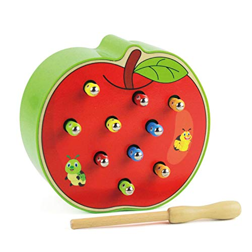 Mincy 10Pcs Worms Baby Wooden Magnetic Catch Worms Insects Game Kids Early Educational Toys for Hand-Eye Coordination (Apple) ()