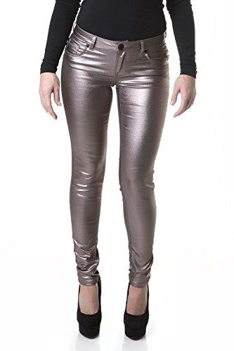 Suko Women's Ponte Leggings -Stretchy Faux Leather Skinny Pants 18326 Gold 4