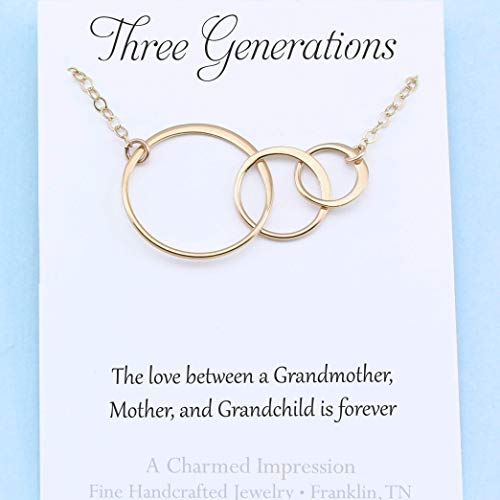 Three Generations • Grandmother Mother & Child Necklace • Gold Connected Eternity -