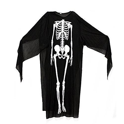 [Adorox Black Skeleton Scary Halloween Costume Adult Grim Reaper Death Ghost Monster] (Mens Monster Costumes)