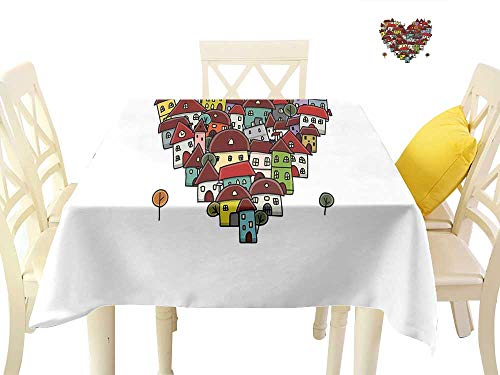 funkky Square Polyester Tablecloth Love Heart Shaped Sketch Style Buildings Neighborhood Colorful Retro Illustration W70 x L70, for Kitchen Dinning Tabletop Decoration ()