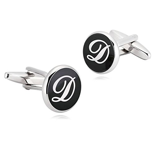 AmDxD Jewelry Stainless Steel Cufflinks for Men Letter Round D Black White Cuff Links - Sales Oroton