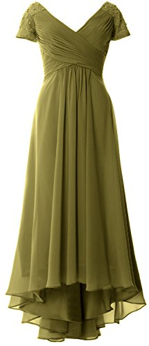 MACloth Cap Sleeves V Neck High Low Mother of Bride Dress Evening Formal Gown Verde Oliva