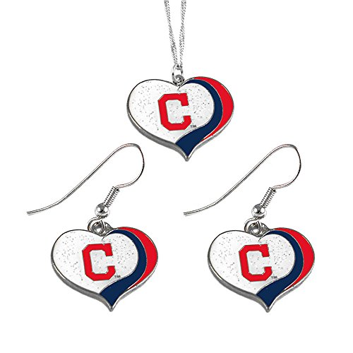 Cleveland Indians Logo Charm - aminco Cleveland Indians MLB Sports Team Logo Charm Gift Glitter Heart Necklace and Earring Set