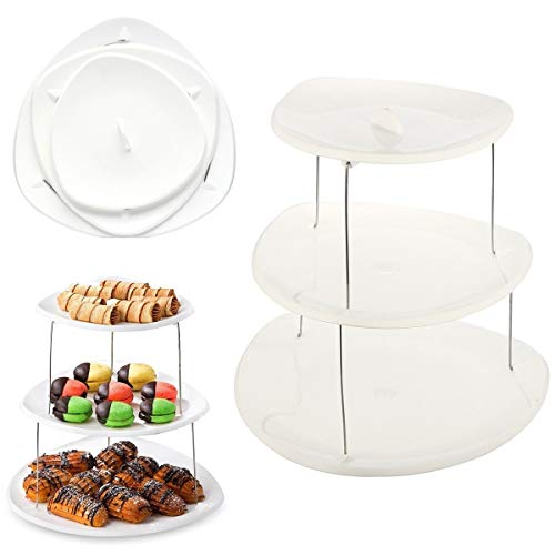 Bazzano for Elegant Food Snack Dessert Cupcake 3 Tier Serving Unique Trays Folding Plates Party