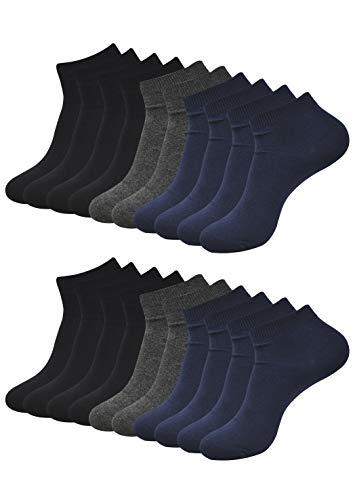 Balenzia Men's Plain Ankle Socks- Black, Navy,D.Grey (Combo Pack of 10)