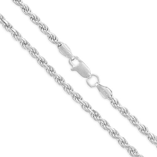 (Sterling Silver Italian 3mm Rope Diamond-Cut Braided Twist Link .925 ITProLux Solid Necklace Chain 18