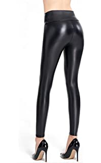 45c850973ed90 Ginasy Black Faux Leather Leggings Pants, Stretchy High Waisted Tights for  Women