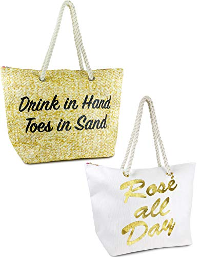 BG-717-2-DIHTIS32.RAD09 Beach Bag 2PK: Drinks/Hand (Natural) & Rose/Day (White)