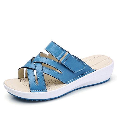 Blue Leather Sandals Platform Handmade Caroo Women's Genuine FwPzOOq