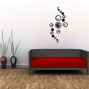 VV 60,96 cm H estilo moderno negro combinación 3D DIY círculos espejo de acrílico reloj de pared, negro