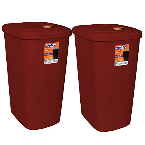 .Hefty. Touch Lid 13.3 Gallon Red Trash Can, Keeps odors in when closed, 2-Pack by .Hefty.