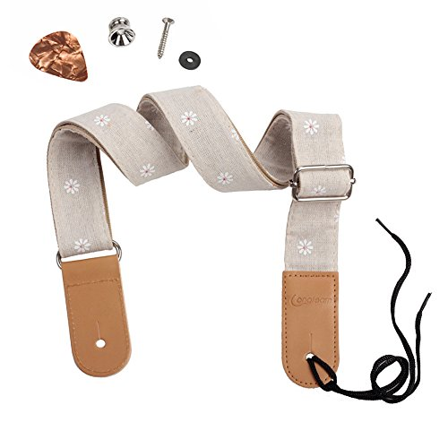 HOT SEAL Linen Style Adjustable Genuine Uke Leather Metal Hook Ukulele Strap Strong Back Straps (Linen Daisy) by HOT SEAL