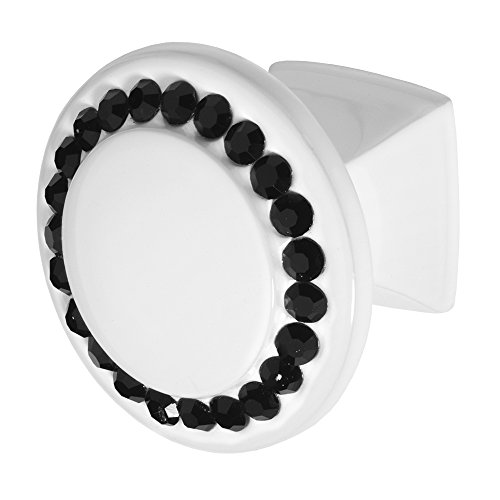 Wisdom Stone 4211W-B Isabel White with Black Crystals Cabinet Knob, (Architectural Stone)