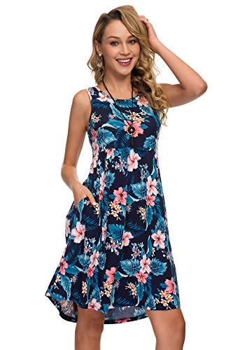 Womens Midi Dress 3/4 Sleeve Polka Dot O Neck Casual Tunic Pleated Loose Vintage Retro Swing Dresses with Pockets (M, Leaves)