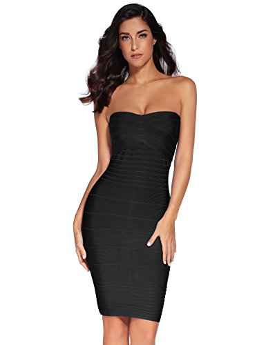 Strapless Stretch Bandage Dress - Black