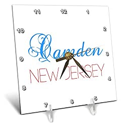 3dRose Alexis Design - American Cities New Jersey - Camden, New Jersey, red, Blue Text. Patriotic Home Town Design - 6x6 Desk Clock (dc_300821_1)