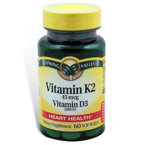 Spring Valley - La vitamine K2 45 mcg de vitamine D3 2000 UI, 60 gélules