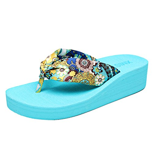 YOUJIA Damen Komfort Sommer Strandschuhe Böhmen Plateau Keilabsatz Zehentrenner Slipper #1 Blau