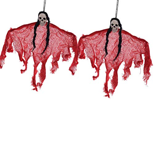 NUOBESTY Halloween Creepy Scary Hanging Ghost Dolls Photo Props Skull Pattern Little Ghost Hangings Decor for Halloween Party Decoration 2pcs (Red) -
