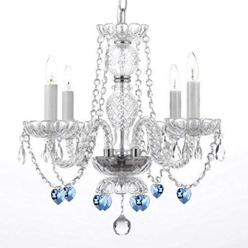 Authentic All Crystal Chandelier Chandeliers Lighting with Sapphire Blue Crystal Hearts! Perfect for Living Room, Dining Room, Kitchen, Kid's Bedroom! H17