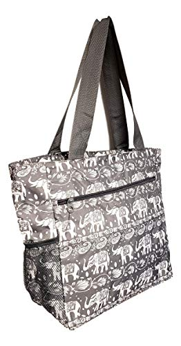 Large Multi - Pocket Fashion Zipper Top Beach Bag Tote - Custom Embroidery Available (Grey Elephant) ()