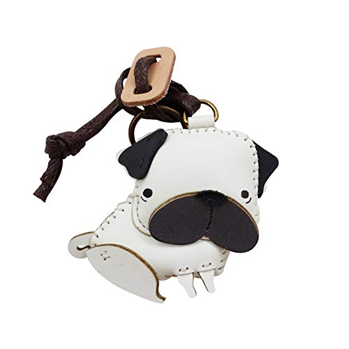 3XU Bag Charm - Leather Charm - Bag Accessories - Keyring - Pug Key Chain (Leather Small Keychain)