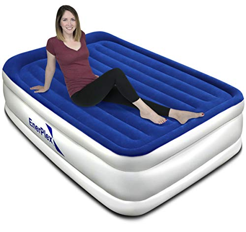 EnerPlex Queen Air Mattress with Built-in Pump with Luxury Pillow Top Airbed Queen Size, Raised Double High Elevated Blow Up Bed Inflatable Queen Airbed for Home Camping Travel, 2-Year Warranty