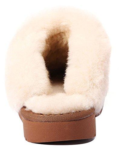 U-lite Womens Vinter Varm Koselig Shearling Ull Semsket Huset Tøffel, Varme Ull Tøfler Til Kvinner Kastanje (saueskinn Semsket)
