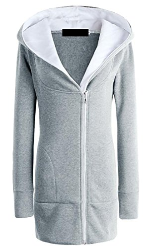 fan products of GAGA Women's Autumn Winter Zipper Long-sleeves Cotton Hooded Sweatshirt Light Grey L
