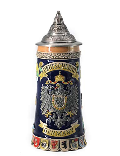 Beer Stein by HauCoze German Beer Stein Mug With Petwer Lid Drinking Tankard Handmade Gifts Souvenirs  Engraved Germany Coats of Arms Relief Food Safe Approved Giftbox 0.6 Litre